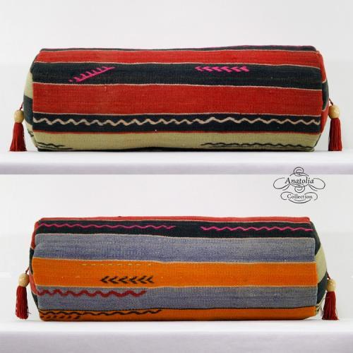Unique Cylinder Bolster Kilim Pillow Lumbar Turkish Rug Cushion Cover