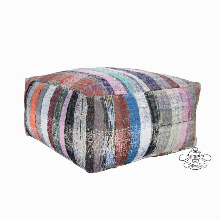 Vintage Turkish Kilim Pouf Kilim Cushion Kilim Puff