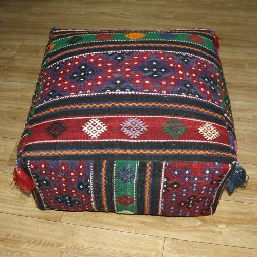 Large Ottoman Pouf Turkish Kilim Rug Floor Pillow Throw Big Kelim Puff