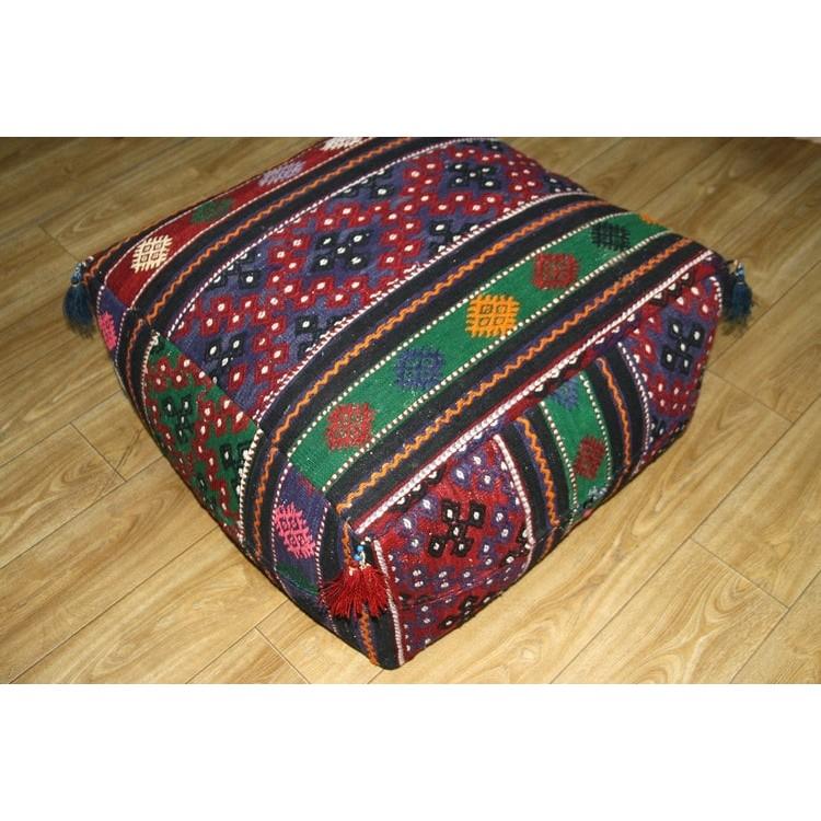 Large Ottoman Pouf Turkish Kilim Rug Floor Pillow Throw
