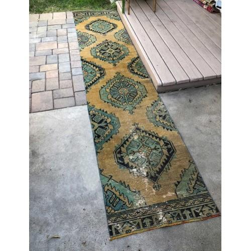 Shabby Old Handmade Rug Runner 2'x11' Long Turkish Vintage Floor Rugs