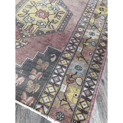 "3' 11"" x 6' Distressed Rug Handmade Distressed Vintage Carpet"