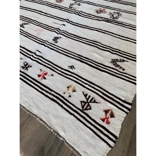 7'  x 10'  White Kilim Hemp Custom Rug Turkish Vintage Handmade