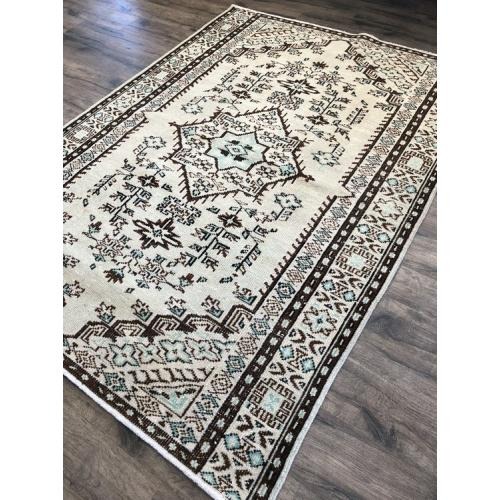 "Natural Earth-Color Vintage Handmade One A Kind Turkish Rug 5'6""x7'6"""