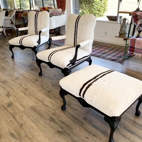 Set of 3 Vintage Chairs and Ottoman Upholstered Hemp Kilim Stripe