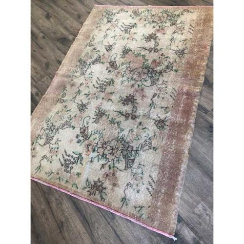 Tight Rich Antique Handmade Grapes Garden Natural Turkish Rug 4'x5'10""