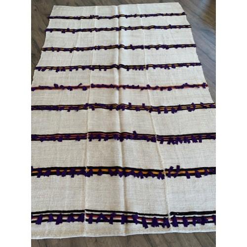 """5' 8"""" x 8' 8"""" White Hemp Kilim Rug California Living Vintage Handmade"""