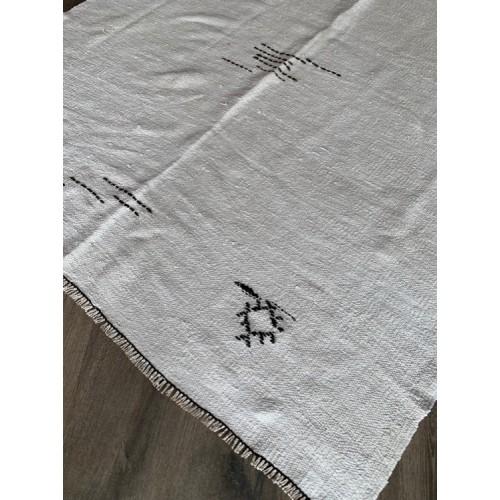 """5'  x 6' 10"""" White Kilim Hemp Custom Rug Turkish Vintage Handmade"""