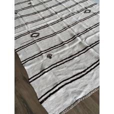 6' by 9' Stripes White Hemp Kilim Rug Turkish Vintage Handmade