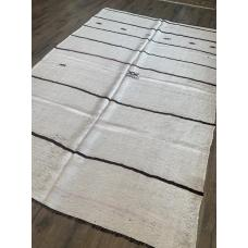 "6'  x 8' 11"" White Hemp Kilim Rug Dark Stripes Vintage Handmade"