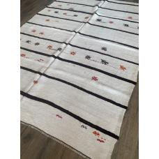 "6' 5"" x 8' 10"" White Hemp Kilim Rug Dark Stripes Vintage Handmade"