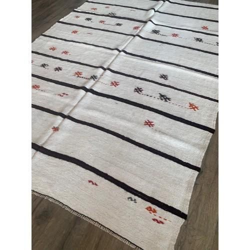 """6' 5"""" x 8' 10"""" White Hemp Kilim Rug Dark Stripes Vintage Handmade"""
