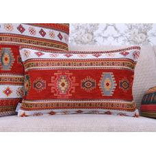 Kilim Pattern Pillow Decorative Turkish Cotton Red&White Lumbar Cushion