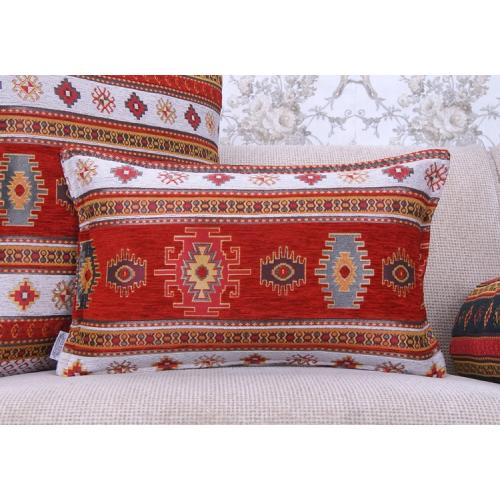 Kilim Pattern Pillow Decorative Turkish Cotton Red&White Lumbar Cushion