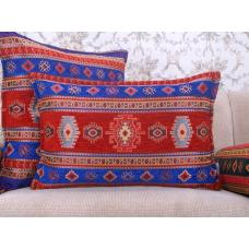 Turkish Kilim Pattern Lumbar Pillow Red & Blue Cotton Decorative Cushion