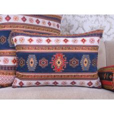 Anatolian White~Blue Kilim Pillow Decorative Turkish Lumbar Sofa Throw