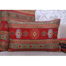 Red~Green Kilim Pillow Woven Decorative Turkish Lumbar Cotton Cushion