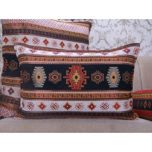 Tribal Kilim Pattern Lumbar Pillow Ethnic Turkish Black~White Cushion