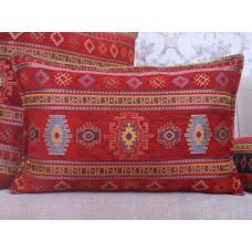 Red Kilim Pattern Throw Pillow Decorative Lumbar Turkish Cotton Cushion