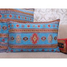 Turquoise Kilim Pattern Lumbar Pillow Decorative Woven Turkish Cushion