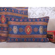 Blue Kilim Pattern Pillow Decorative Lumbar Turkish Tapestry Rug Cushion