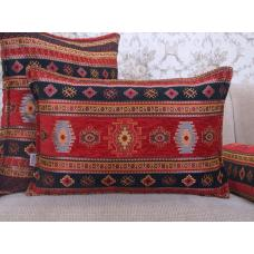 Red Kilim Pattern Lumbar Cushion Decorative Woven Cotton Blend Pillow