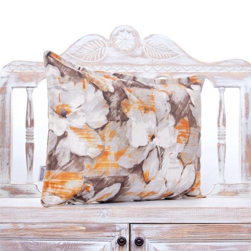 Oil Paint Design Floral Pillow Orange & Brown Decorative Lumbar Cushion