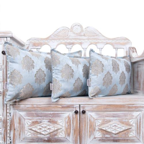 Decorative Ice Blue Luxury Pillow Jacquard Lumbar Accent Throw Pillows