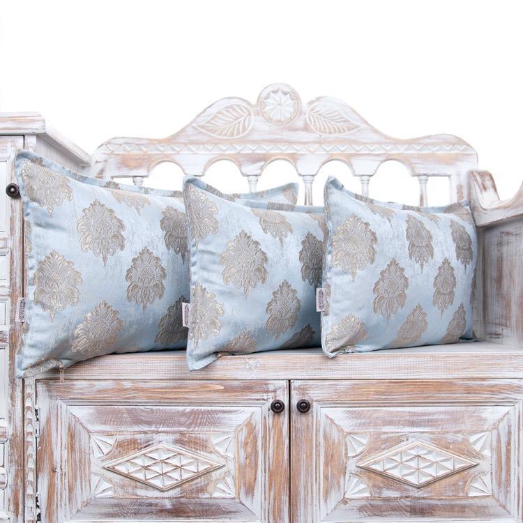 Ice Blue Luxury Pillow Jacquard Lumbar