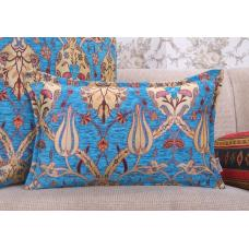 Turquoise Decorative Tulip Garden Pattern Lumbar Pillow Floral Cushion