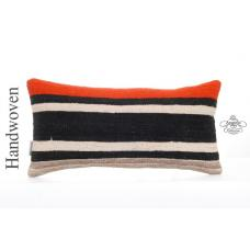 "Striped Handwoven Pillow Modern 10x20"" Lumbar Cushion Turkish Kilim Pillowcase"