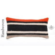 "Striped Handwoven Pillow Modern 10x20"" Lumbar Cushion Turkish Kilim Pillowcase"