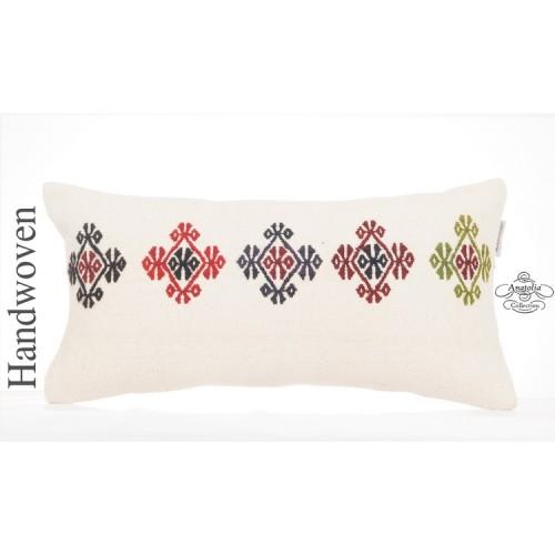 "Shabby Cottage Decor Kilim Pillow Cover 10x20"" White Embroidered Sofa Throw"