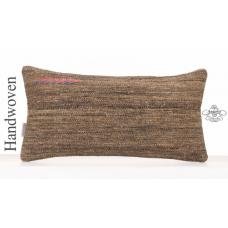 "Natural Lumbar Kilim Pillowcase 10x20"" Gray Decor Throw Pillow Cover"