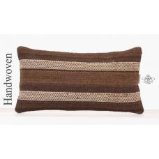 Brown Natural Kilim Throw Pillow Ethnic Handmade Turkish Cushion Cover