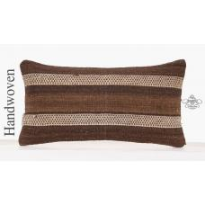Decorative Lumbar Kilim Pillow 10x20 Natural Striped Brown Sofa Throw