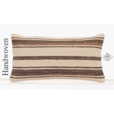 Interior Decor Pillowcase 10x20 Inch White Striped Lumbar Kilim Pillow