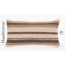 Interior Decor Pillowcase 10x20 Inch White Striped Lumbar Kilim Pillow