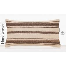 Modern Sofa Decor Throw Pillow White Striped Lumbar Kilim Cushion Sham