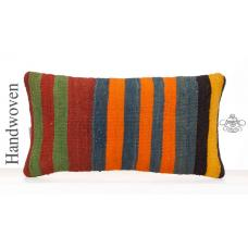 Colorful Striped Pillow Cover 10x20 Decorative Kilim Throw Pillowcase
