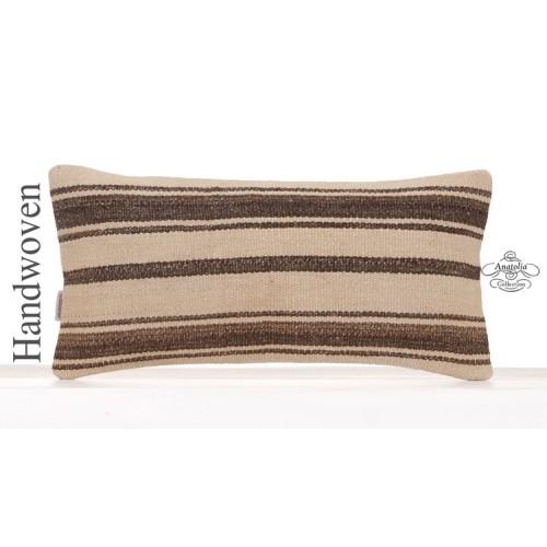 Decorative Striped Kilim Pillowcase 10x20 Vintage Lumbar Cushion Cover