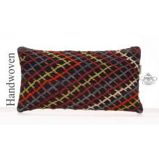 Ethnic Decorative Kilim Pillow 10x20 Embroidered Anatolian Rug Cushion