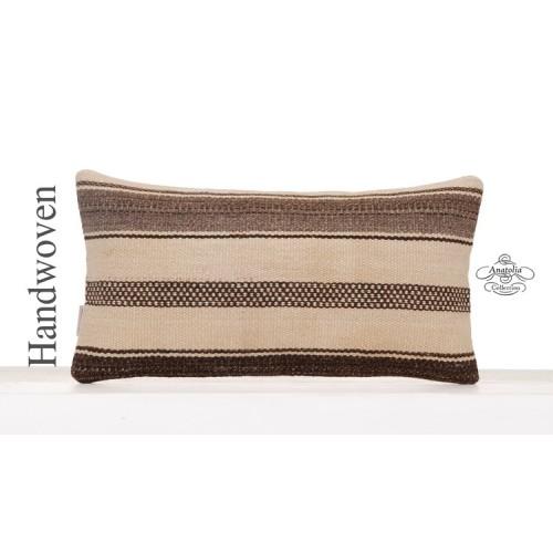 Modern White Kilim Pillow Eclectic Decorative Striped Lumbar Cushion
