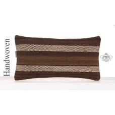 Natural Undyed Brown Kilim Cushion 10x20 Lumbar Sofa Throw Pillowcase