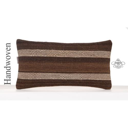 Natural Undyed Brown Kilim Cushion 10x20 Lumbar Sofa Throw Pillowcase