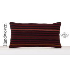 Striped Old Kilim Pillowcase Antique Decorative Lumbar Cushion Cover