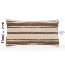 "Decorative Striped Lumbar Kilim Pillowcase 10x20"" Modern Decor Cushion"