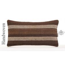 "Natural Cottage Chic Lumbar Pillow 10x20"" White Striped Kilim Cushion"