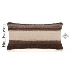 "Natural Rare Decorative Kilim Pillow 10x20"" Striped Lumbar Sofa Throw"