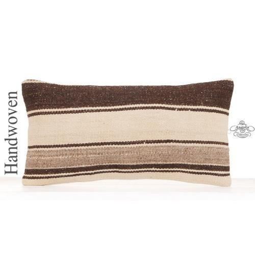 "Anatolian Decorative Lumbar Kilim Pillow 10x20"" Unique Striped Throw"